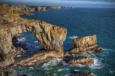by Darryl Hughes on Flickr. The Green Bridge - Pembrokshire Coast, Wales.