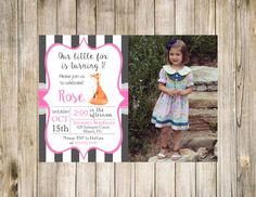 Fox Birthday Photo Invitation Printable Pink Lace White Digital Favorites Likes Loves Fall Autumn Winter Spring by clsprints on Etsy
