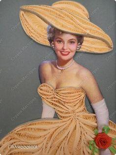 Картина панно рисунок Квиллинг Моя первая дамочка Бумажные полосы фото 3