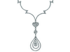 Diamond 3.50ctw Round, Marquise, Princess Cut & Pear Shape 10k White Gold Teadrop Necklace