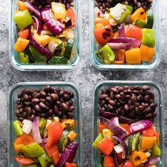 Grilled Veggie & Black Bean Meal Prep Bowls | Sweet Peas and Saffron
