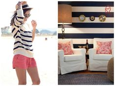 Shes never to busy to hit the beach, but after she wants to relax as if she were still there. This Navy nautical decor is just her style.