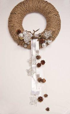 Pinecone wreath  Holiday wreath   Winter wreath  14 inch by kaleda, $30.00