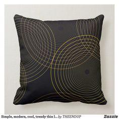 Simple, modern, cool, trendy thin line circles throw pillow Brown Cushions, Thin Line, Custom Pillows, Simple Designs, Vector Art, Keep It Cleaner, Circles, Throw Pillows