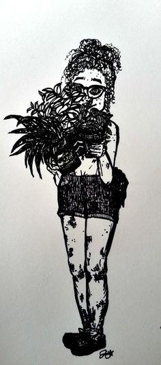 brenda the botanist, illustration character by Julianna Chavez Character Illustration, Darth Vader, Symbols, Drawings, Artist, Painting, Fictional Characters, Santa Cruz, Artists