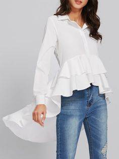 Shop Blouses - White Casual Ruffled Blouse online. Discover unique designers fashion at StyleWe.com.