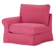 PB Comfort Roll Arm Slipcovered Left Arm Chair, Box Edge Down Blend Wrapped Cushions, Linen Blend Pink Magenta