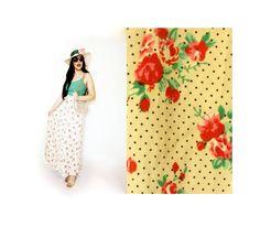 PINK FLORAL POLKA Dot Maxi Skirt 70s 80s Rose print black white spots tie waist Green Spring Summer Cotton Medium boho hippy chic shabby by LibertyCrush on Etsy