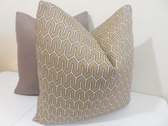 Taupe Outdoor pillow Taupe Maze Outdoor fabric  by ZourraDesigns