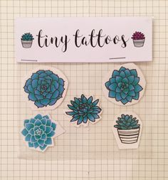 Turquoise Succulent Tiny Temporary Tattoos (Pack of 5) by tinytattoos on Etsy https://www.etsy.com/listing/464957789/turquoise-succulent-tiny-temporary