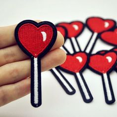 Candy Lollipop Heart Patch  lollipop Iron on patches by ToMyFriend