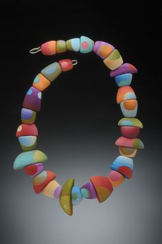 Gibbous Necklace - polymer veneers, sterling silver clasp