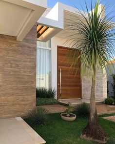 small grass patch with bushes, front yard landscaping ideas with rocks, small palm tree, ceramic pot with a plant House Designs Exterior, House Design, House Entrance, Front Door, House Front Design, Futuristic Home, House Outside Design, Beautiful Front Doors, House Exterior