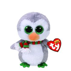 Claires Girls TY Beanie Boo Chilly the Penguin Small Plush Toy in White/Grey