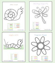 Color By Number Preschool Worksheets // Pintar por números