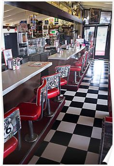 Diner along Route 66, A beautiful woman gave me the idea of Route 66. When I look at this picture I think how fun it would be to stop in and enjoy a greasy meal together.