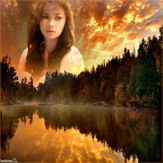"""She's watching over us! Beautiful orange sunset. Insert your photo on <a href=""""http://imikimi.com"""" rel=""""nofollow"""" target=""""_blank"""">imikimi.com</a>"""