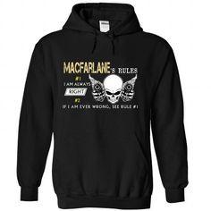 MACFARLANE Rules - #graphic hoodies #pink sweatshirt. TRY  => https://www.sunfrog.com/Valentines/MACFARLANE-Rules-Black-Hoodie.html?id=60505