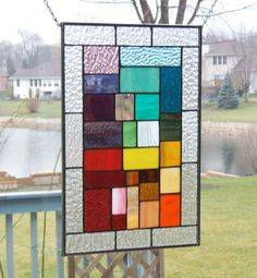 Stained glass window  panel rainbow geometric abstract stained glass panel