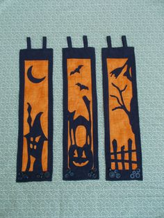 Halloween triptych wallhanging quilts  Halloween Silhouettes