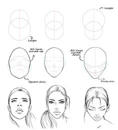 Easy face drawing tutorial with construction lines by AlicjaNai Pencil Art Drawings, Art Drawings Sketches, Dress Sketches, Quote Drawings, Eye Drawings, Realistic Drawings, Drawing Lessons, Drawing Techniques, Drawing Drawing