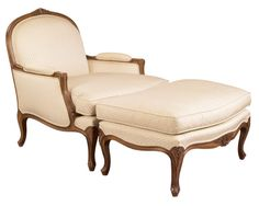 Louis J Solomon Louis XV Bergere & Ottoman Traditional Styles, Solomon, Tuscany, Accent Chairs, Ottoman, Mid Century, Lounge, Couch, Mood