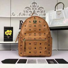 84f1364a05b MCM Stark Cognac Backpack Visetos Small 4 PCs Studs