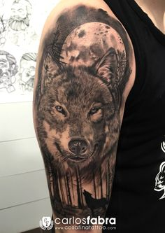 realistic wolf head indian tattoo - Google Search
