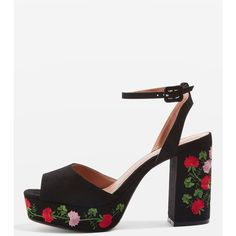 Topshop Mauritius Embroidered Platform Sandals (1 145 UAH) ❤ liked on Polyvore featuring shoes, sandals, multi, high platform sandals, ankle strap high heel sandals, platform shoes, ankle tie sandals and high heel shoes