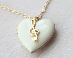 Un corazón a la música antigua blanco medallón por ALJoyeria