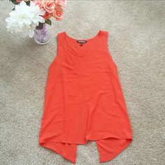 Express Split Back Tank Top Split back tank top from Express in Orange-red. Slightly sheer. True to size.   No trades.  No paypal. Instagram: @Jhennay262 Express Tops Tank Tops