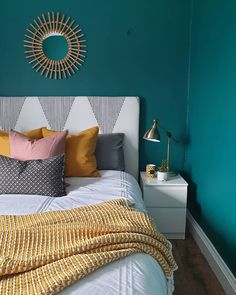 IKEA malm b… Valspar Winter Spruce dark green teal bedroom. Pin: 1080 x 1351 Dark Teal Bedroom, Teal Bedroom Decor, Teal Rooms, Bedroom Green, Bedroom Colors, Home Bedroom, Bedroom Ideas, Mustard Bedroom, Mustard Yellow Bedrooms