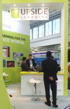 Amit Garg converses with a visitor at Stand B15 at the Learning Technologies 2016