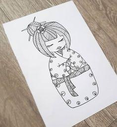 Cute little asian nesting doll zentangle design :) Zentangle, Kawaii Chibi, Asian, Totoro, Art Work, Create Yourself, Etsy Seller, My Arts, Handmade Gifts