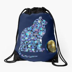 'Disco cat and disco ball' Drawstring Bag by StefaniaAlina Disco Ball, Cat Gifts, Drawstring Backpack, My Arts, Clock, Art Prints, Printed, Cats, Awesome