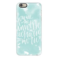 iPhone 6 Plus/6/5/5s/5c Case - You Are The Universe - White on Aqua ($40) ❤ liked on Polyvore featuring accessories, tech accessories, iphone case, iphone cover case, apple iphone cases and white iphone case
