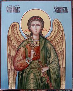 Купить Святой Ангел-Хранитель.Икона рукописная - голубой, ангел, ангел-хранитель, икона, золото
