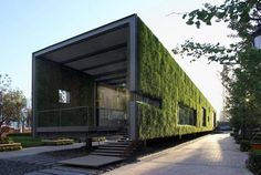 green roof building, china green technology center, sustainable architecture, guanganmen green technology exhibit, vector architects, floating garden