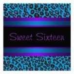 Purple Teal Leopard Sweet 16 Birthday Party Personalized Announcement Invitations Invitation Wording