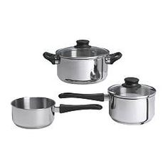 ANNONS 5-piece cookware set - IKEA $9.99 (stainless  with aluminum in-between layers...)