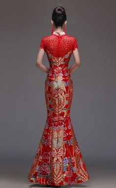 Chinese Wedding Gown Beaded Phoenix Illusion Qipao