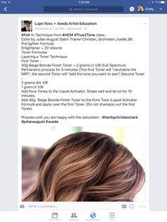 Aveda Hair Color, Hair Color Formulas, Beige Blonde, Hair Coloring, Colored Hair, Hair Painting, Cosmetology, Balayage Hair, Grape Vines