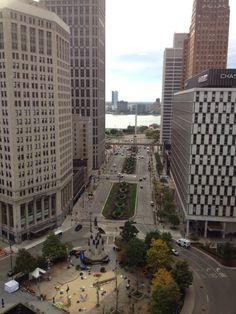 Looking down Woodward Avenue toward the Detroit River.