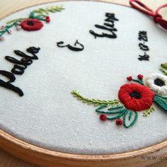 Wedding Art Embroidery Hoop Porta alianzas bastidor bordado a mano www.arorua.es