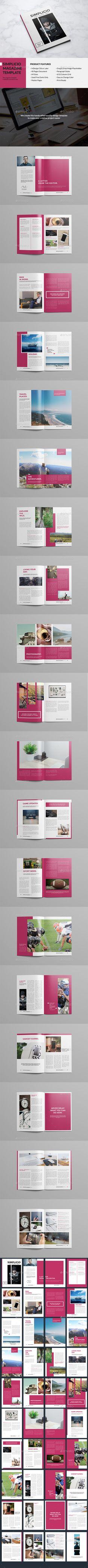 Simplio Magazine Template InDesign INDD #journal #design Download: http://graphicriver.net/item/simplio-magazine/13325421?ref=ksioks
