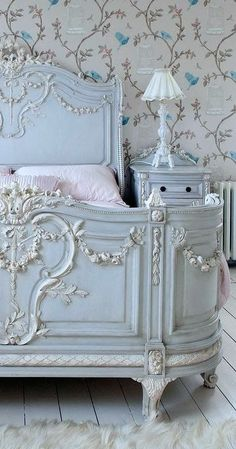 French inspired blue bedroom