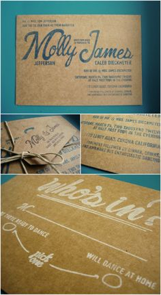 a blog by shannon labare: James + Molly - Stamped Kraft Paper Invitations