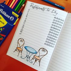 Bullet journal restaurants to try tracker collection