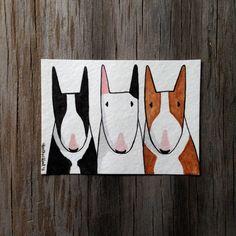 Bul Terrier Art Illustration, Three Bull Terrier Friends Buddies, Original Watercolor Painting, Art ACEO
