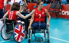 Britain's captain Claire Harvey touches Martine Wright following their Sitting Volleyball women's preliminary match against Ukraine. Wright lost both of her legs seven years ago in the July 7 London bombings, which killed 52 people. - Picture: REUTERS/Suzanne Plunkett